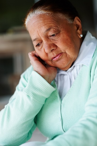 Elderly woman who is a victim of nursing home abuse